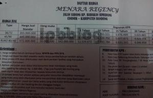 menara regncy  price list