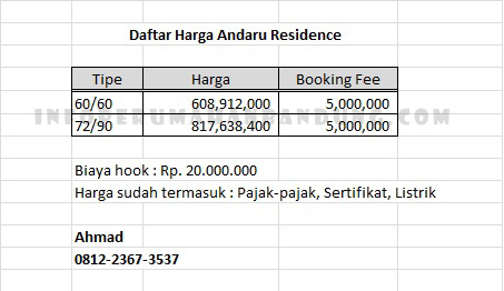 PriceList_Andaru_Residence
