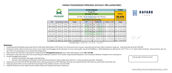 PriceListMadaniVillage copy