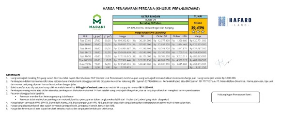 PriceList30Persen_MadaniVillage
