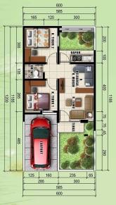 Denah Ruangan Tipe 36 Perumahan di Bandung The Green Hill Taman siBolang