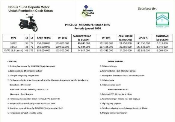 Price List Perumahan di Bandung Minara Permata Biru