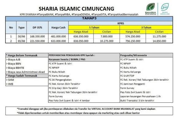 PriceList Perumahan Bandung Developer Syariah Sharia Islamic Cimuncang