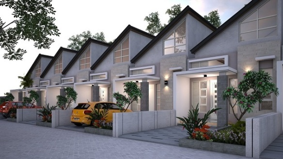 Desain 1 lantai Samping Perumahan di Bandung Aster Village Ciwastra