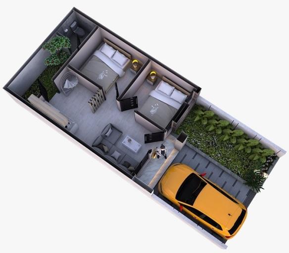 Desain 3D Tipe 30 Lantai bawah Perumahan di Bandung Aster Village Ciwastra