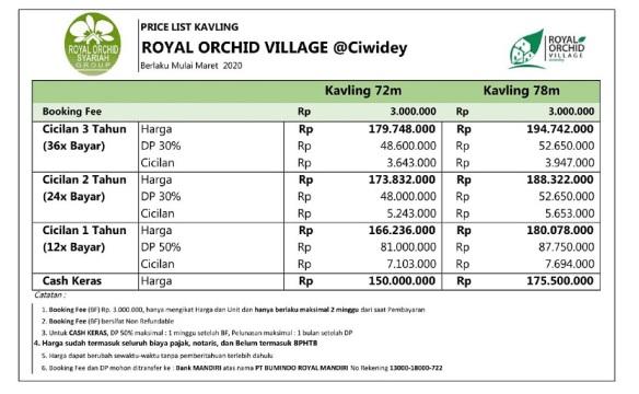 Price List Tanah Kavling Perumahan di Bandung Royal Orchid Villa Ciwidey