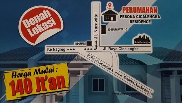 Peta Lokasi Perumahan di Bandung Pesona Cicalengka