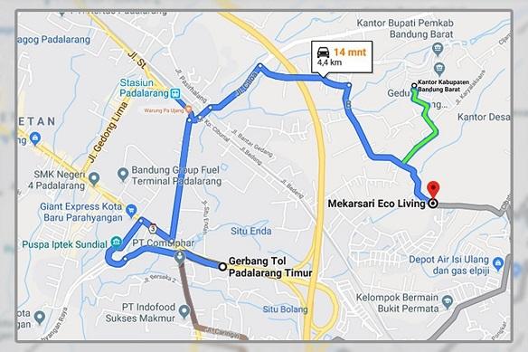 Peta Lokasi Mekarsari Eco Living Perumahan di Bandung